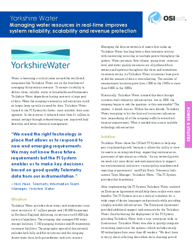 Yorkshire Water: Improving System Reliability, Scalability and Revenue Protection
