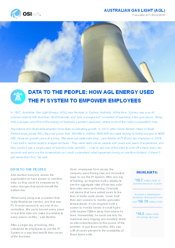 Data to the people: How AGL Energy used the PI System to empower employees