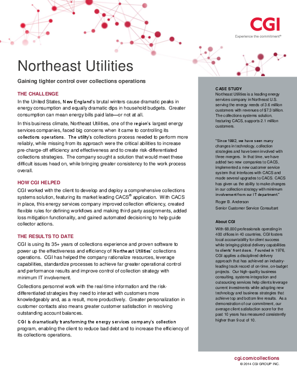 Case Study – North East Utilities – Collections 360