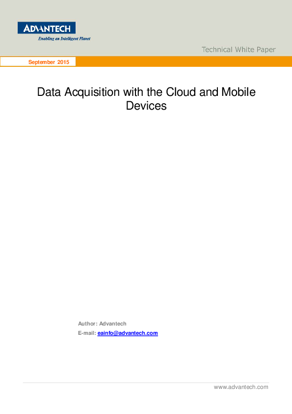 Advantech Data Acquisition with the Cloud and Mobile Devices