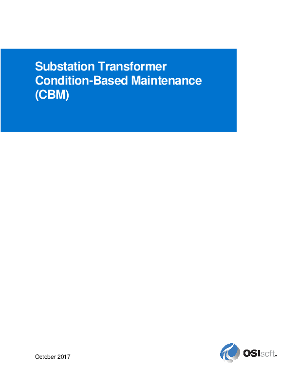 Substation Transformer Condition-Based Maintenance (CBM)