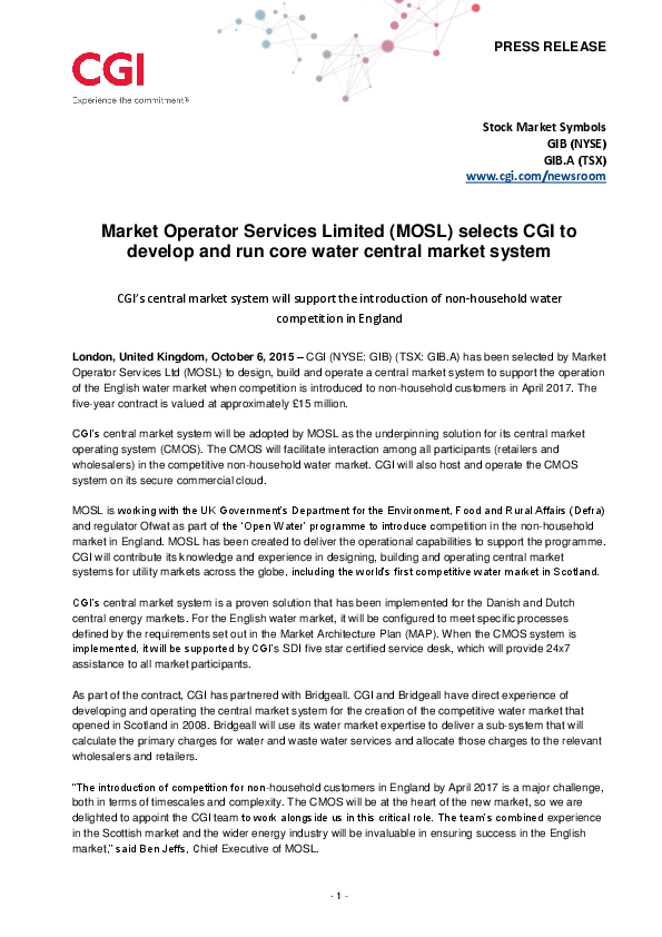 Market Operator Services Limited (MOSL) selects CGI to develop and run core water central market system