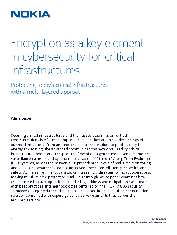 Encryption as a key element in cybersecurity for critical infrastructures