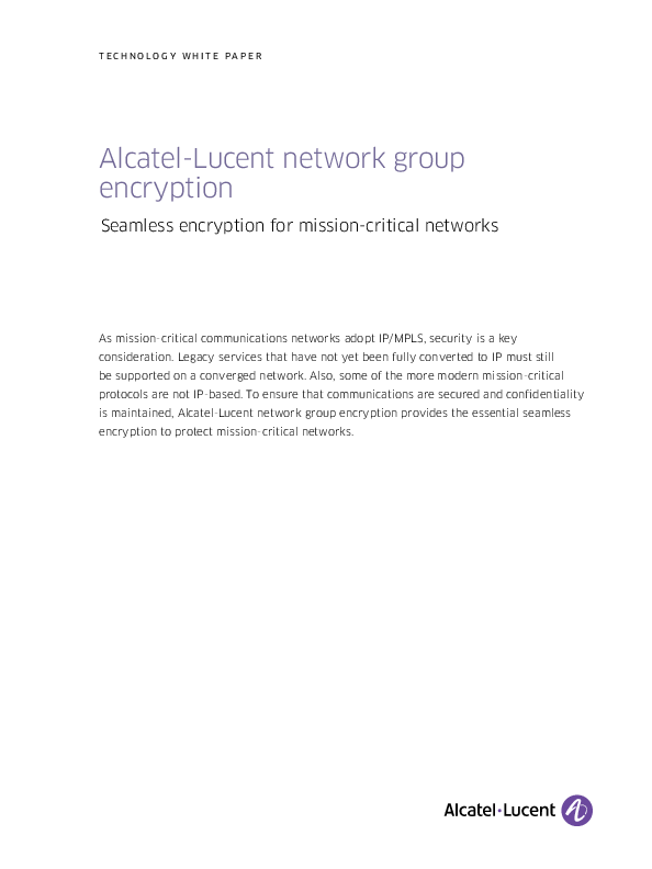 Alcatel-Lucent network group encryption