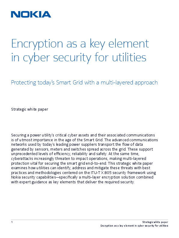 Encryption as a Key Element in Cyber Security for Utilities