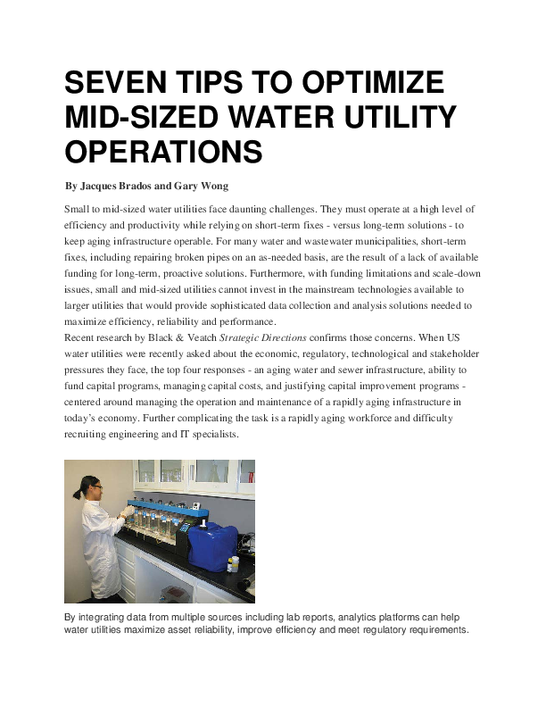 7 Tips to Optimize Mid-Sized Water Utility Operations