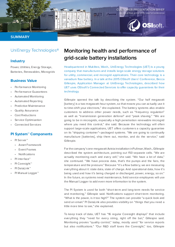 Monitoring health and performance of grid-scale battery installations