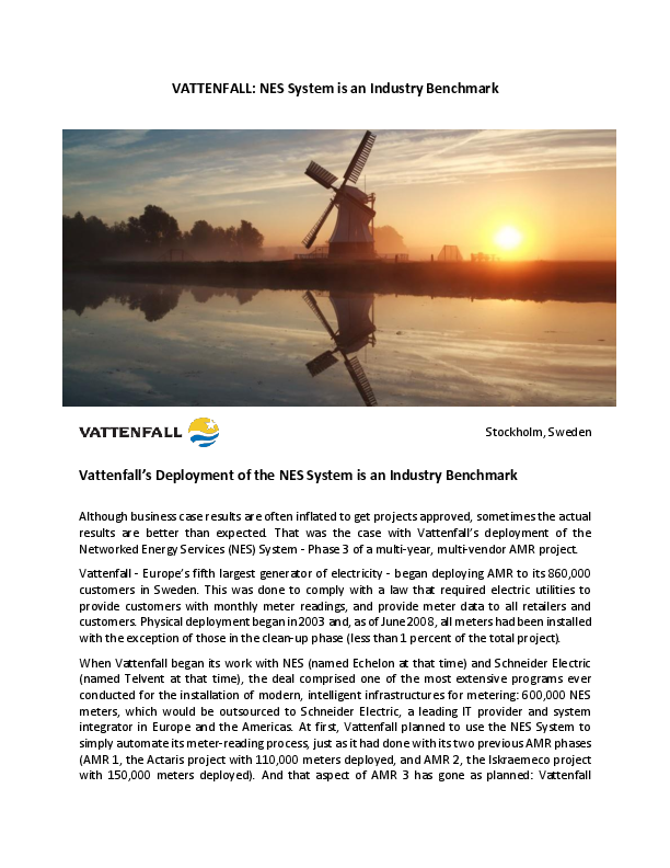 VATTENFALL: NES System is an Industry Benchmark